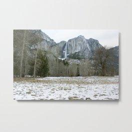 Falls Over Snow Field Metal Print