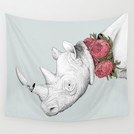 White Rhino with Proteas Wall Tapestry