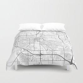 Ann Arbor Map, USA - Black and White Duvet Cover