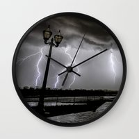 tesla Wall Clocks featuring Tesla Skies by Tanner Albert