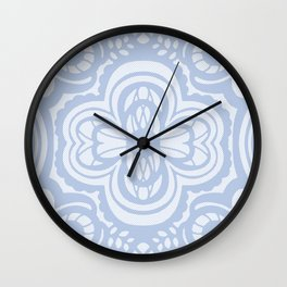 Four-leaf Clover Lace: Azul Pastel  Wall Clock