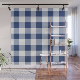 Navy Gingham Pattern Wall Mural