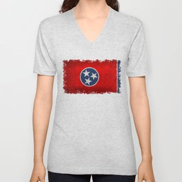 Flag of Tennessee - Vintage grungy style Unisex V-Neck