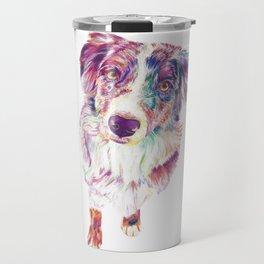 Multicolored Australian Shepherd red merle herding dog Travel Mug