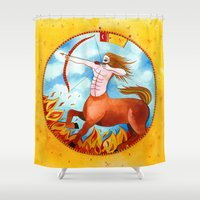 sagittarius Shower Curtains featuring Sagittarius by Sandra Nascimento