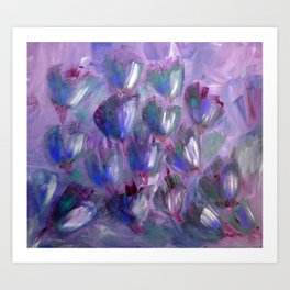 Purple, Red and Blue Abstract Flowers Art Print