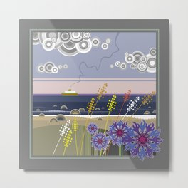 Sea landscape with wildflowers and ferry boat Metal Print