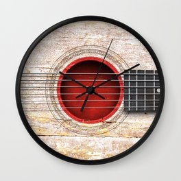 Old Vintage Acoustic Guitar with Japanese Flag Wall Clock
