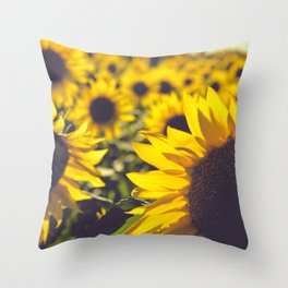 Summer Sunflower Love Throw Pillow