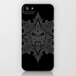 Ancient Gray and Black Aztec Sun Mask iPhone Case