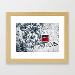 snowfall in the italian alps Framed Art Print