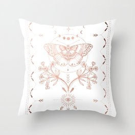 Magical Moth In Rose Gold Throw Pillow