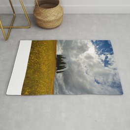 Golden fields and cypresses Rug