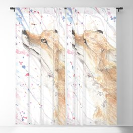 """Watercolor Painting of Picture """"Fox in the Rain"""" Blackout Curtain"""