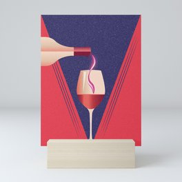 Minimalist style poster with glass and bottle of wine Mini Art Print