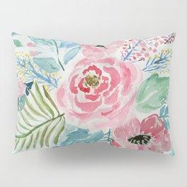 Pretty watercolor hand paint floral artwork. Pillow Sham