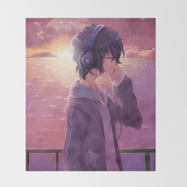 Anime Boy Headphone Throw Blanket
