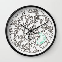 kittens Wall Clocks featuring Kittens by Audur Yr
