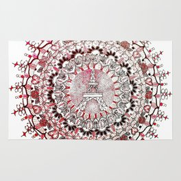 Eiffel Tower Pink, White, and Black Paris Mandala Rug
