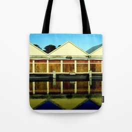 Reflections of an old boat Building! Tote Bag