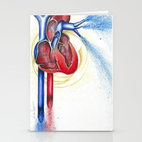 anatomical heart Stationery Cards featuring Anatomical Heart, Abstract blood by Adam Murray