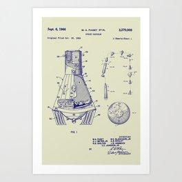 1966 NASA Apollo Mercury Space Capsule Patent Art Print