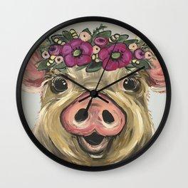 Pig Painting, Flower Crown Pig, Cute Farm Animal Art Wall Clock