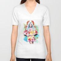 cancer V-neck T-shirts featuring Cancer by Sara Eshak