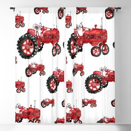 Watercolor old farming red tractor Blackout Curtain