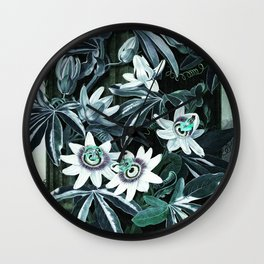 Dark Teal Temple of Flora Blue Passion Flowers Wall Clock