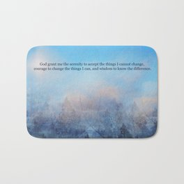 Serenity Prayer Sky and Trees Abstract Bath Mat