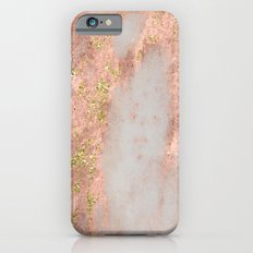 Rose Gold Marble with Yellow Gold Glitter Slim Case iPhone 6