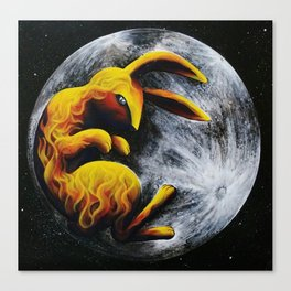 Rabbit in the Moon Canvas Print