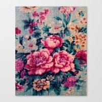 vintage floral Canvas Prints featuring Vintage Floral  by CLE.ArT.
