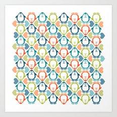 NGWINI - penguin love pattern 5 Art Print