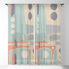 Mid Century Orange Sheer Curtain