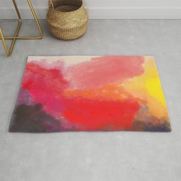 Red, Black and Yellow Mosaic Rug