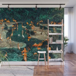 Flamingo Creek #flamingo #tropical #illustration Wall Mural