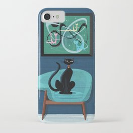 Creature Comforts Mid-Century Interior With Black Cat iPhone Case