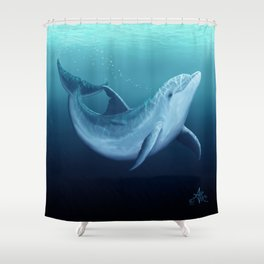 """""""Riversoul Blue"""" by Amber Marine ~ Dolphin Art, (Copyright 2014) Shower Curtain"""