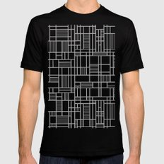 Map Lines Silver MEDIUM Mens Fitted Tee Black