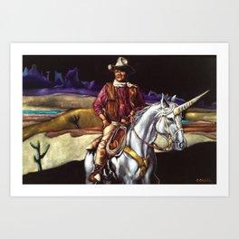 Black Velvet John Wayne Riding a Unicorn Art Print