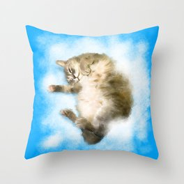 Comfy, fluffy and heavenly! (Mocha the cat) Throw Pillow