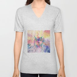 Watercolor eagle owl abstract paint Unisex V-Neck