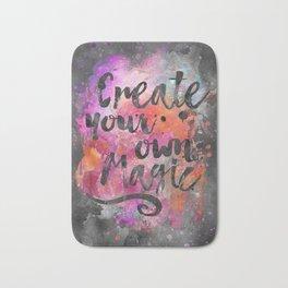 Create Magic handlettering colorful watercolor art Bath Mat