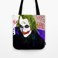 the joker Tote Bags featuring joker by Saundra Myles