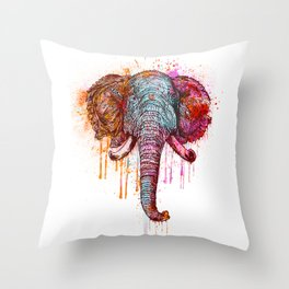 Watercolor Elephant Head Throw Pillow