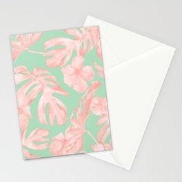 Tropical Palm Leaves Hibiscus Pink Mint Green Stationery Cards