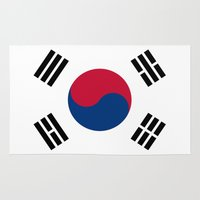 korea Area & Throw Rugs featuring Flag of South Korea by Neville Hawkins