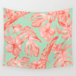 Island Life Coral Pink + Pastel Green Wall Tapestry